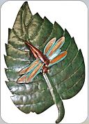 Metal leaf with dragonflies